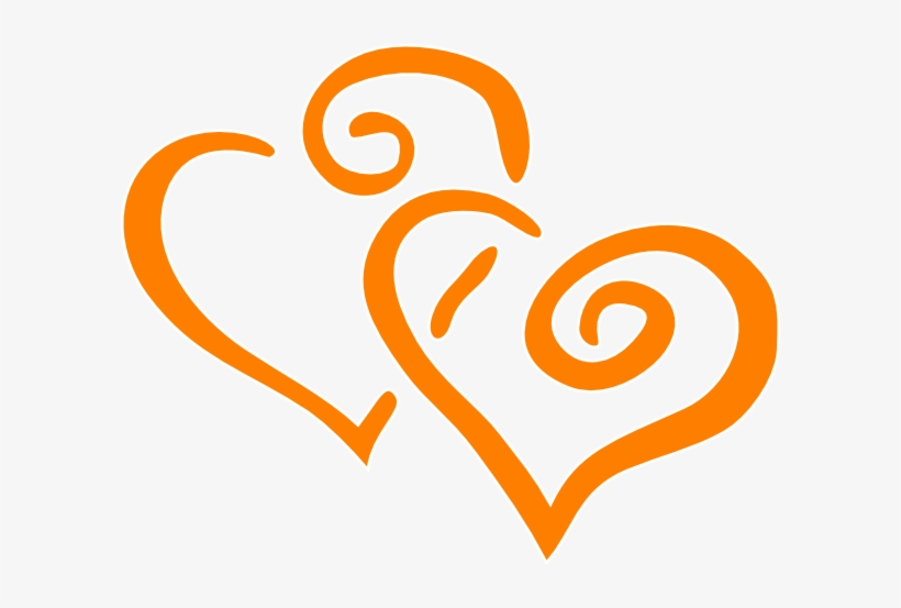 Orange Intertwined Hearts Clip Art - Green And Orange Hearts, transparent png #974094