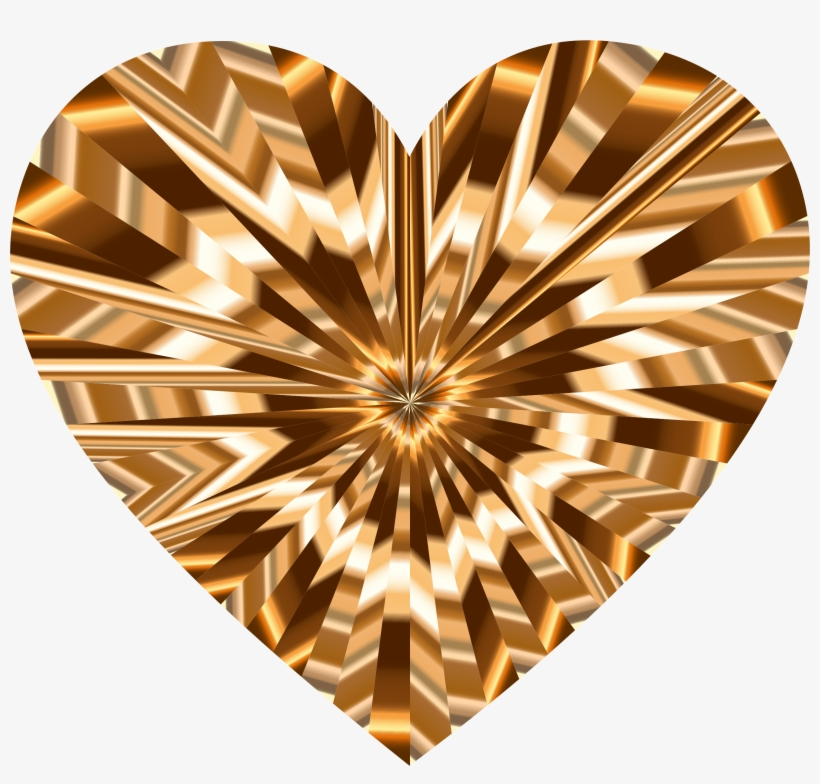 Starburst Heart 9 Jpg Black And White Library - Brown And Gold Heart Png, transparent png #974170