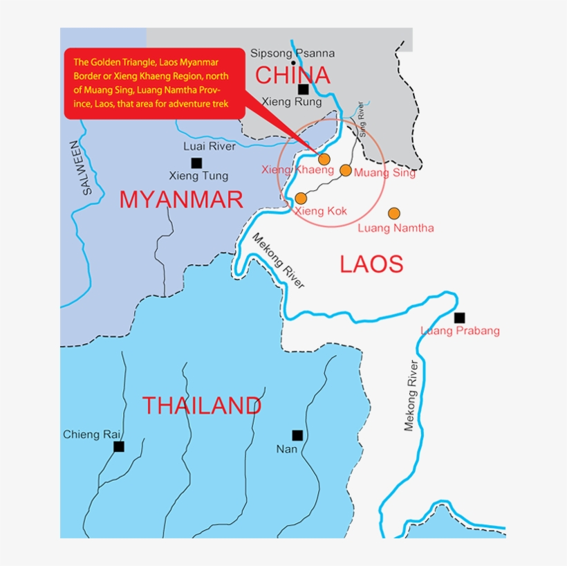 The Golden Triangle, Laos Myanmar Border Or Xieng Khaeng - Golden Triangle Laos Map, transparent png #974519