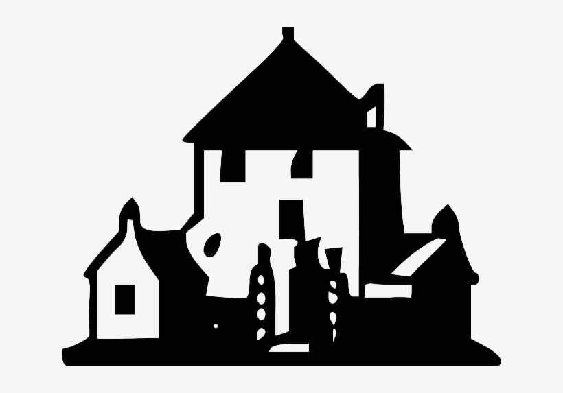Building, House, Outline, Houses, Dark, Estate, Real - House Clip Art Black, transparent png #975202