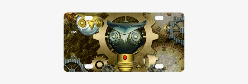Steampunk, Cute Owl Classic License Plate - Steampunk, Awesome Dark Mechanical Owl Yard Sign, transparent png #975868