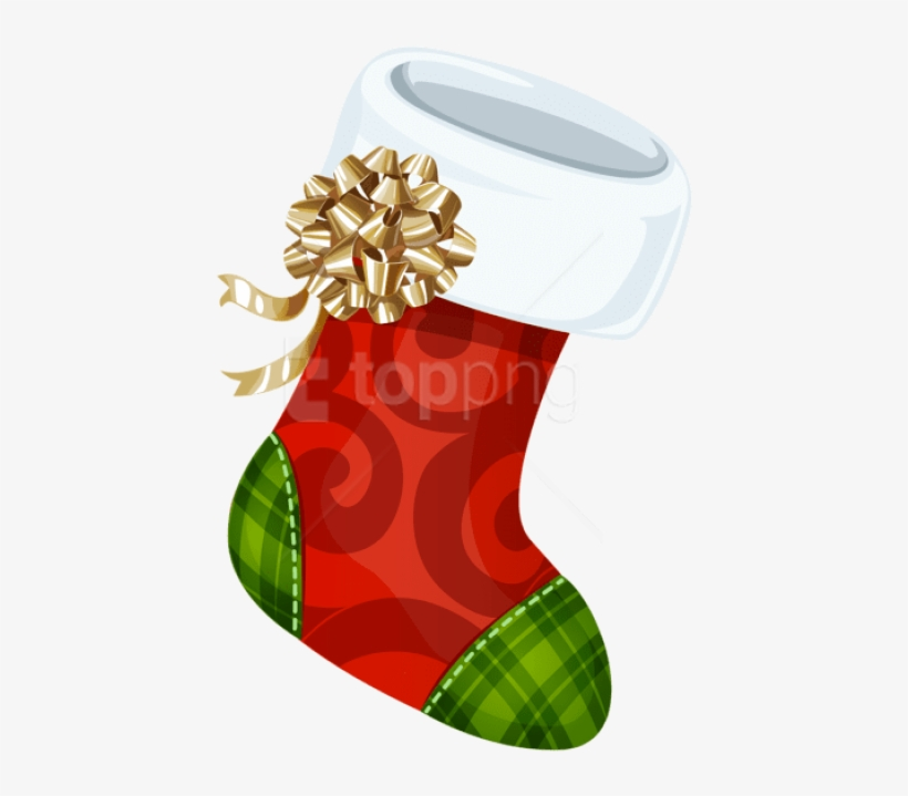 Free Png Christmas Stocking With Gold Bow Png - Christmas Sock Transparent Background, transparent png #9700744