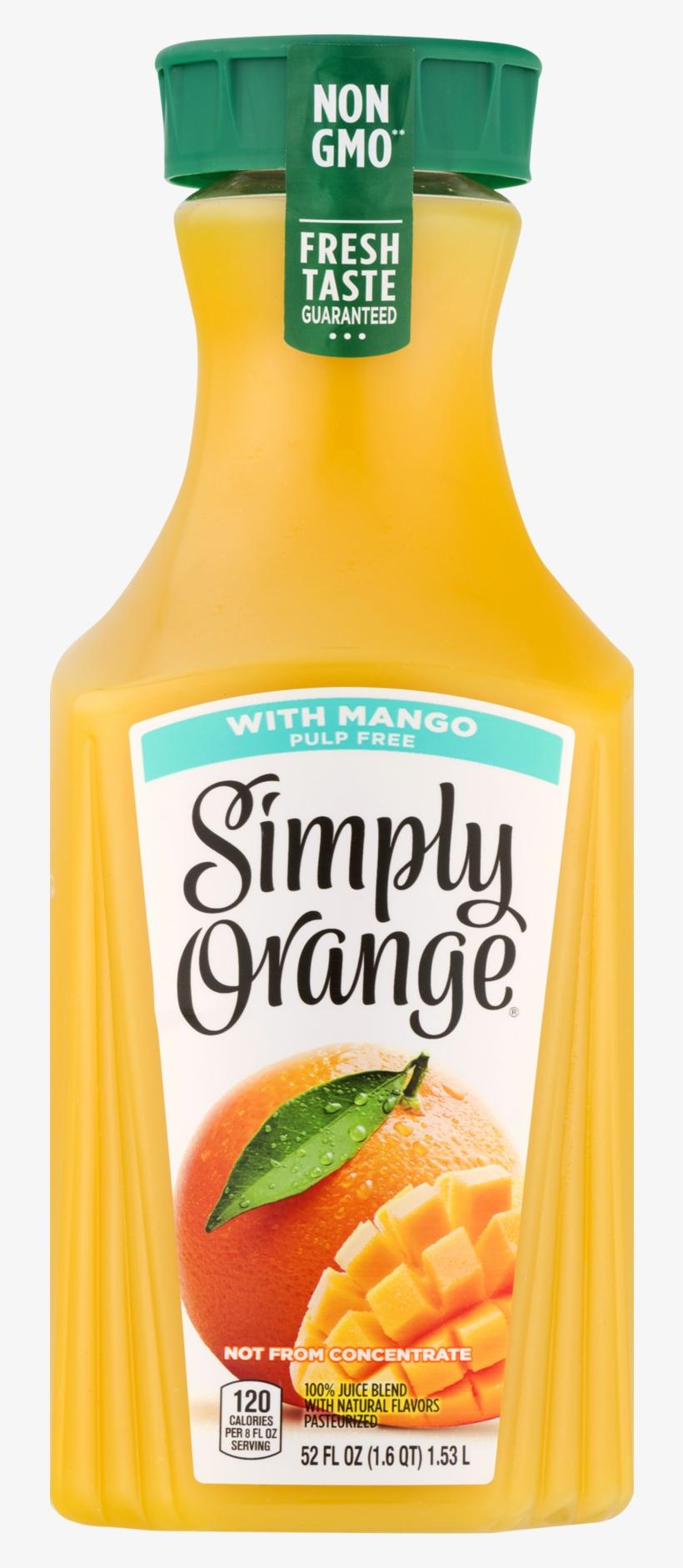 Simply, Orange Juice Blend With Mango Pulp Free, 52 - Simply Orange 52 Oz, transparent png #9700794