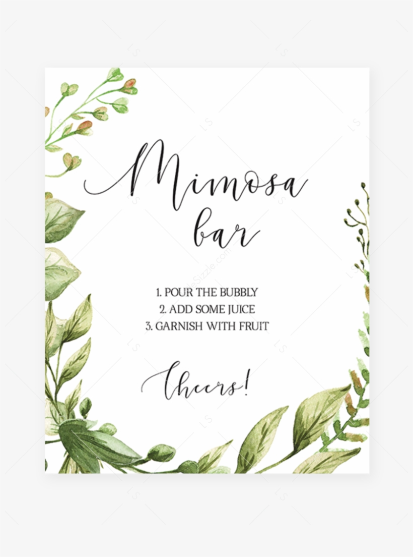 photo about Mimosa Bar Sign Printable Free called Printable Mimosa Signal For Little one Shower Watercolor Leaves