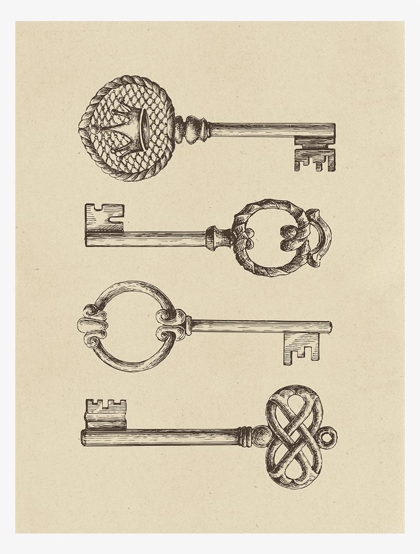 Skeleton Keys Collection - Drawing, transparent png #9726590