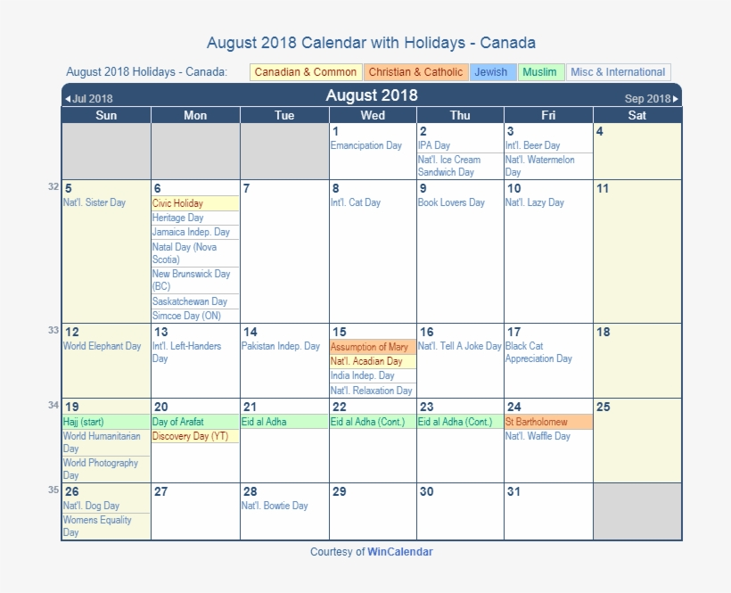 August 2018 Calendar With Holidays Canada - Holiday March 2019