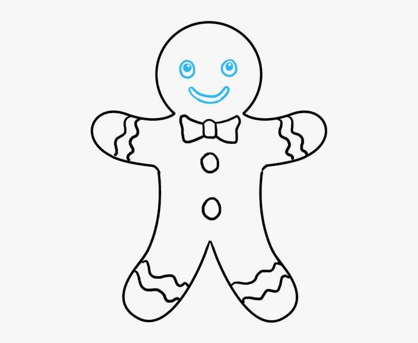 How To Draw Gingerbread Man - Gingerbread Man To Draw, transparent png #9737335
