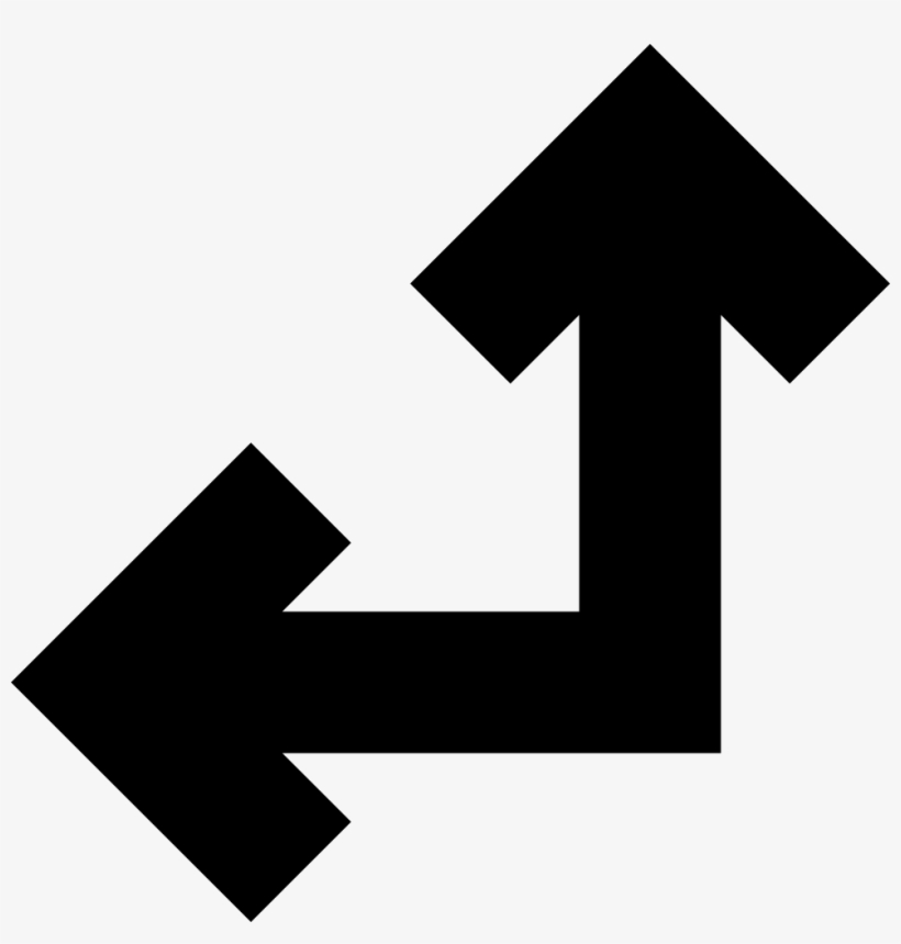 Two United Arrows In Straight Angle Pointing Left And - Flecha Izquierda Y Arriba, transparent png #9756581