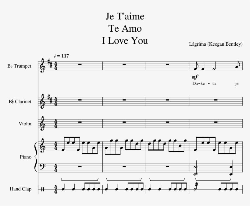 Je T Aime Te Amo I Love You Sheet Music For Clarinet, - Sheet Music, transparent png #9756924
