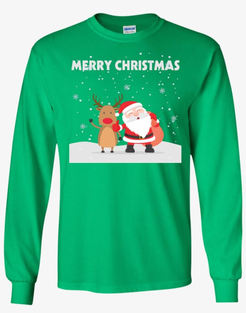 Merry Christmas, Santa, Reindeer, Friendship Snow Ls - Japan Ugly Christmas Sweater, transparent png #9773646