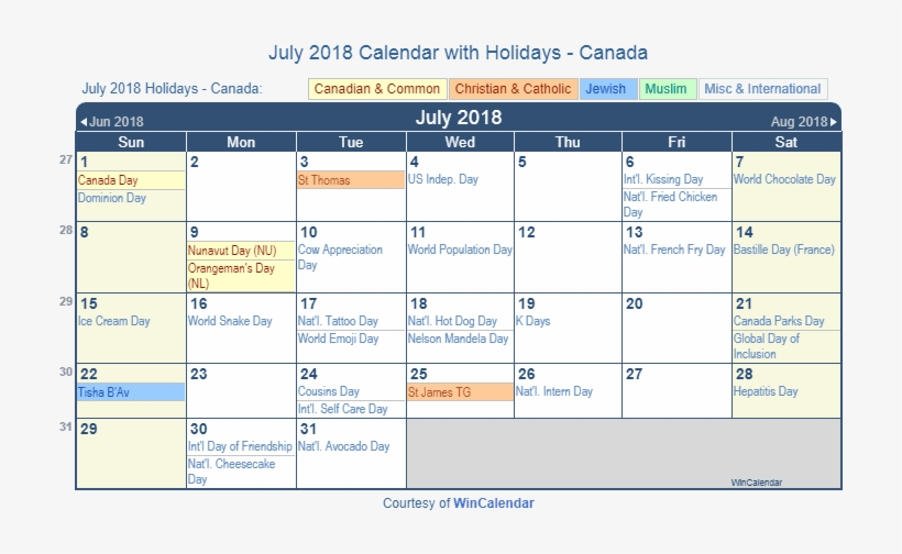 July 2018 Calendar With Canada Holidays To Print - Chinese New Year 2020 Calendar, transparent png #9775816