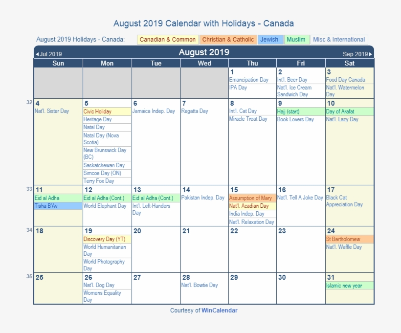 Print Friendly August 2019 Canada Calendar For Printing - Holidays In December 2018, transparent png #9777194