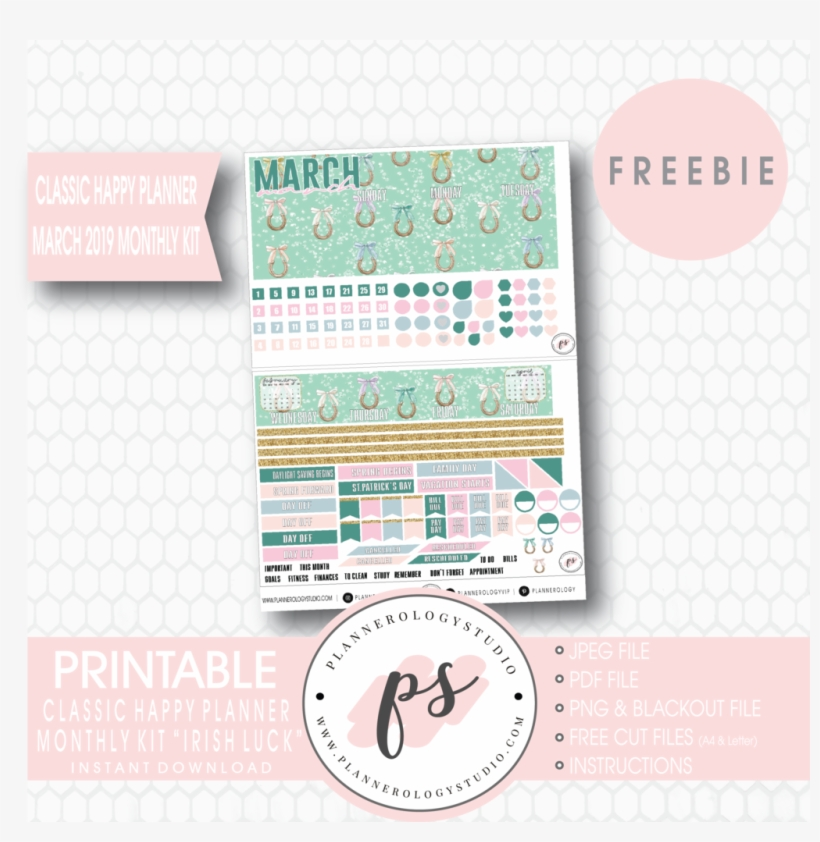 Irish Luck Classic Happy Planner March 2019 Monthl - Happy Planner New Years Eve Printables 2019, transparent png #9780034
