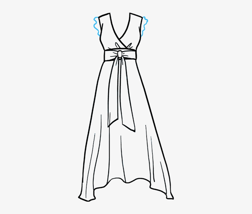 How To Draw A Dress Really Easy Drawing Tutorial Png - Transparent Drawing Of Dress, transparent png #9788054