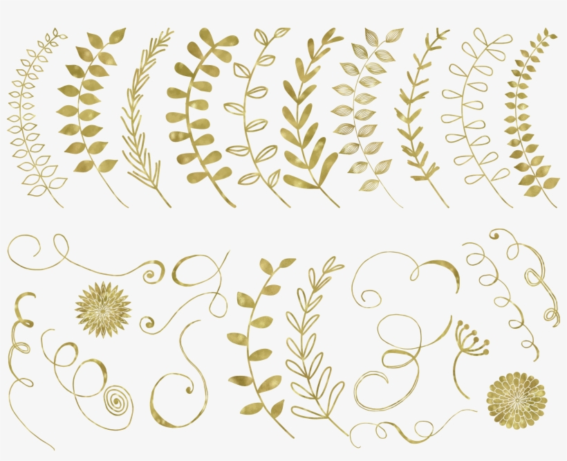 67 Gold Foil Elements Example Image - Gold Circle Floral Png, transparent png #982701
