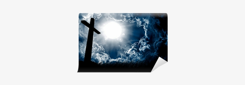 Cross Silhouette And The Sky With Full Moon Wall Mural - Sun Shining Through Dark Clouds Skin, transparent png #986760