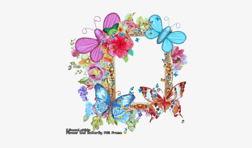 Butterfly Border Flower And Frame Freeuse Download - Vintage Metal Wall Art Love, transparent png #987073