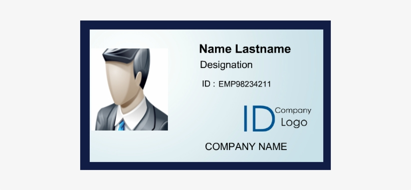 Simple Id Card With Cool Blue Border - Id Card Green Design, transparent png #987076