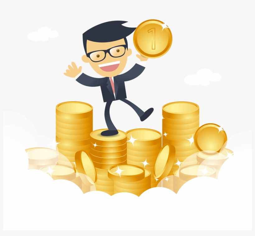 Cartoon Happy Businessman With Money Vector 3334 Work Hard Earn Money Free Transparent Png Download Pngkey