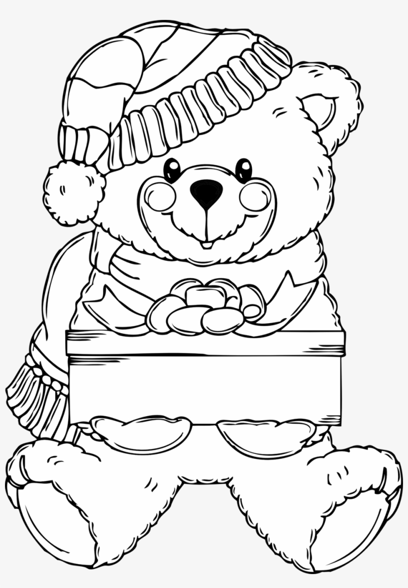 Christmas Bear Coloring Page - Christmas Black And White Coloring Pages, transparent png #9840064