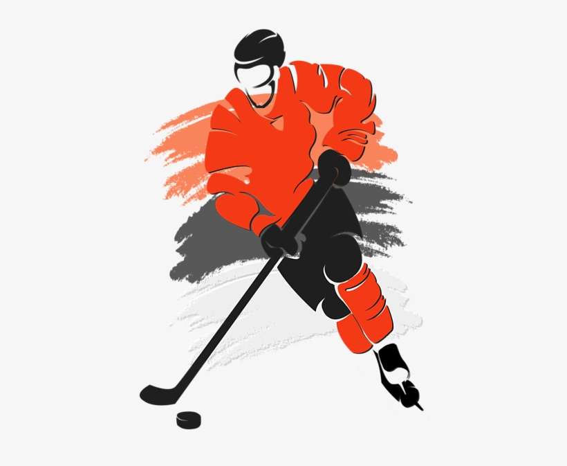 Click And Drag To Re-position The Image, If Desired - Silhouette Of Hockey Player, transparent png #9851609
