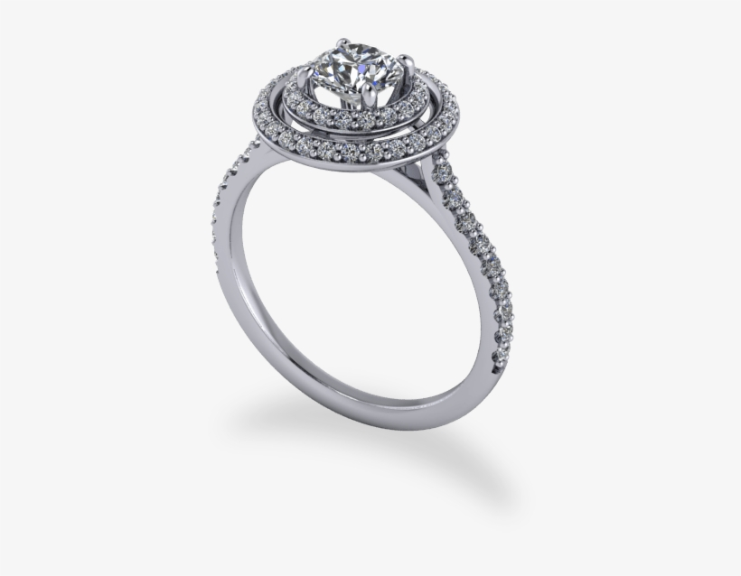 Modern Round Brilliant Cut Double Halo Ring - Engagement Ring, transparent png #9862153