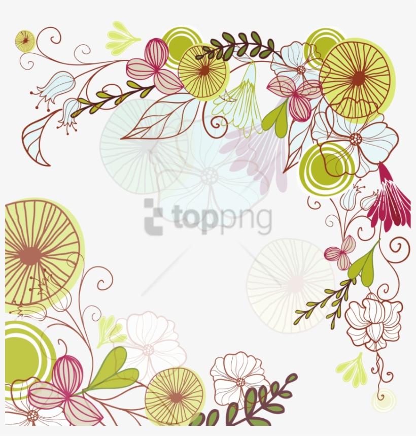 Free Png Colorful Floral Corner Borders Png Png Image - Corner Flowers Frame Png, transparent png #9865370