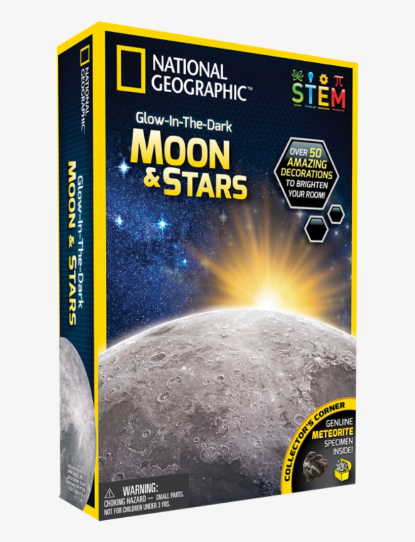 National Geographic Glow In The Dark Moon & Stars - National Geographic, transparent png #9882321