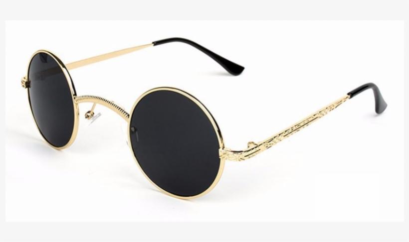 Round Sunglasses Gold Frame Black Lenses, transparent png #990154