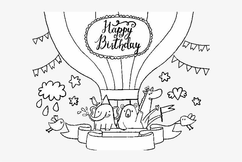Dibujo De Globo Aerostático Con Mensaje De Feliz Cumpleaños - Tarjeta De Cumpleaños Globos Aerostáticos, transparent png #990491