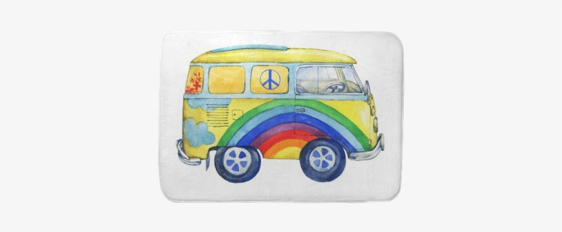Old-fashioned Yellow Hippie Сamper Bus, Painted In - Watercolor Painting, transparent png #992888