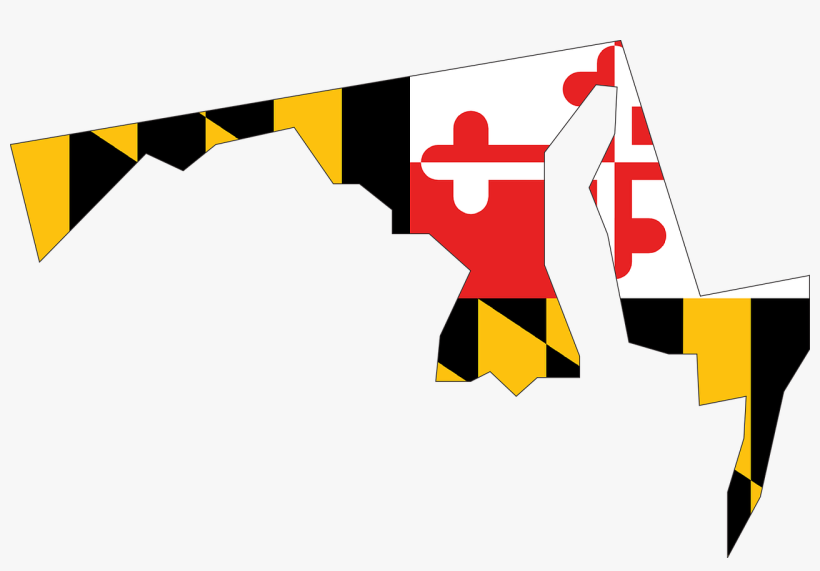 Maryland State Usa Flag Map America Maryla - Maryland State With Flag, transparent png #996443