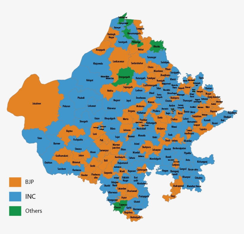 200/200 - Rajasthan Assembly Election 2018 Map, transparent png #9915173