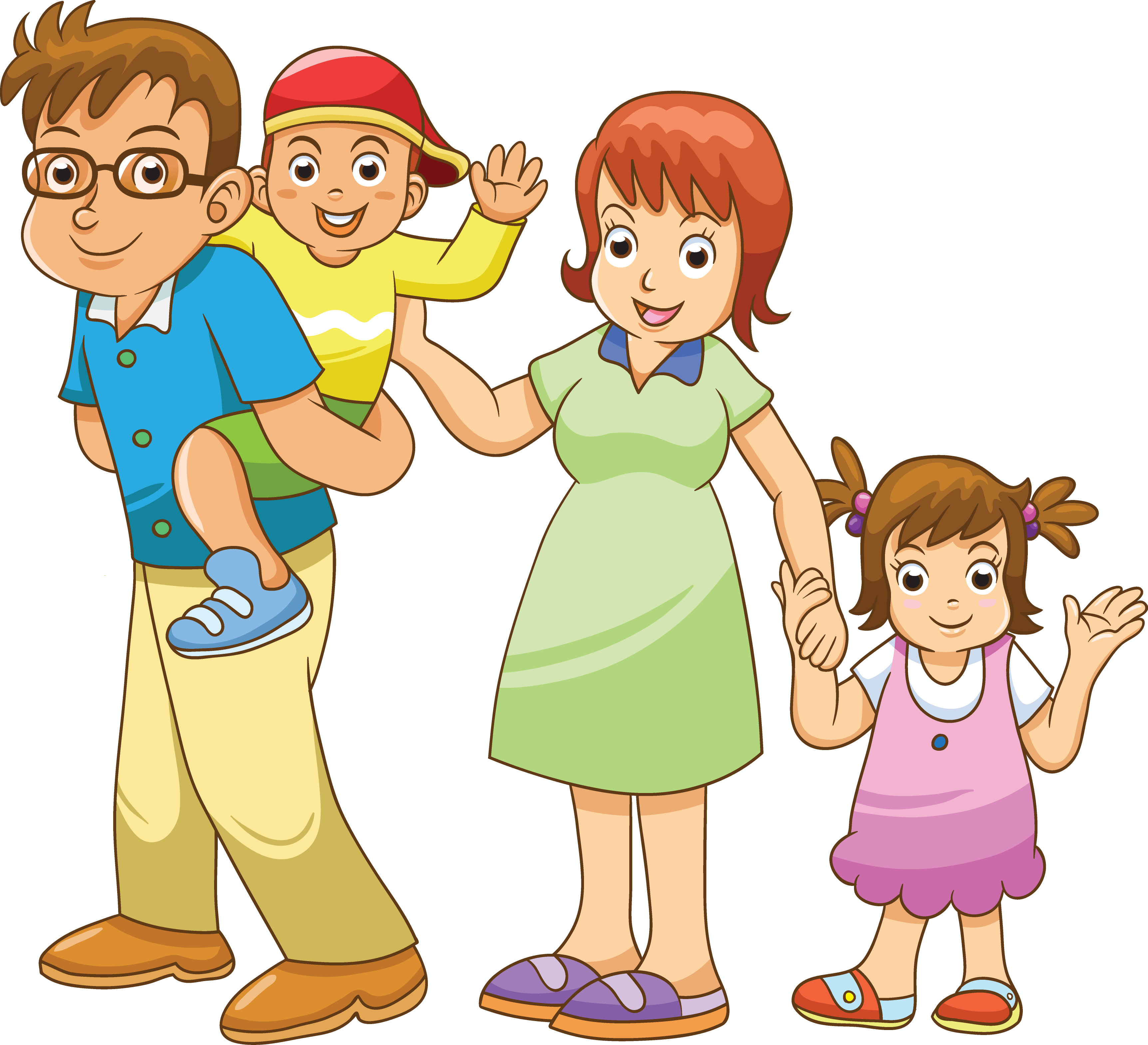 Открытки днем, картинки анимации семья для детей