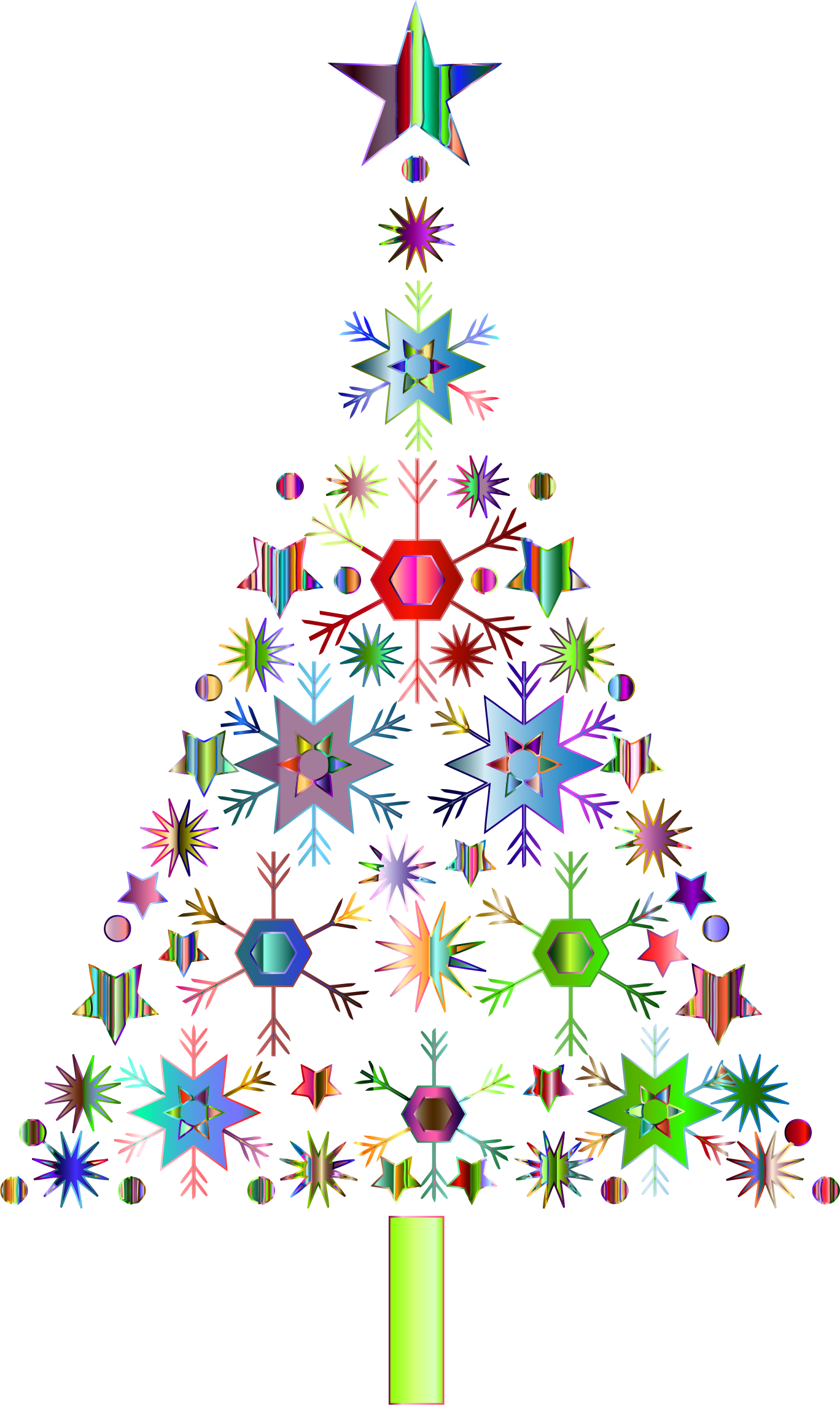 Abstract Snowflake Christmas Tree By Karen Arnold Prismatic - Clear Background Christmas Tree Clip Art Png (1368x2286), Png Download