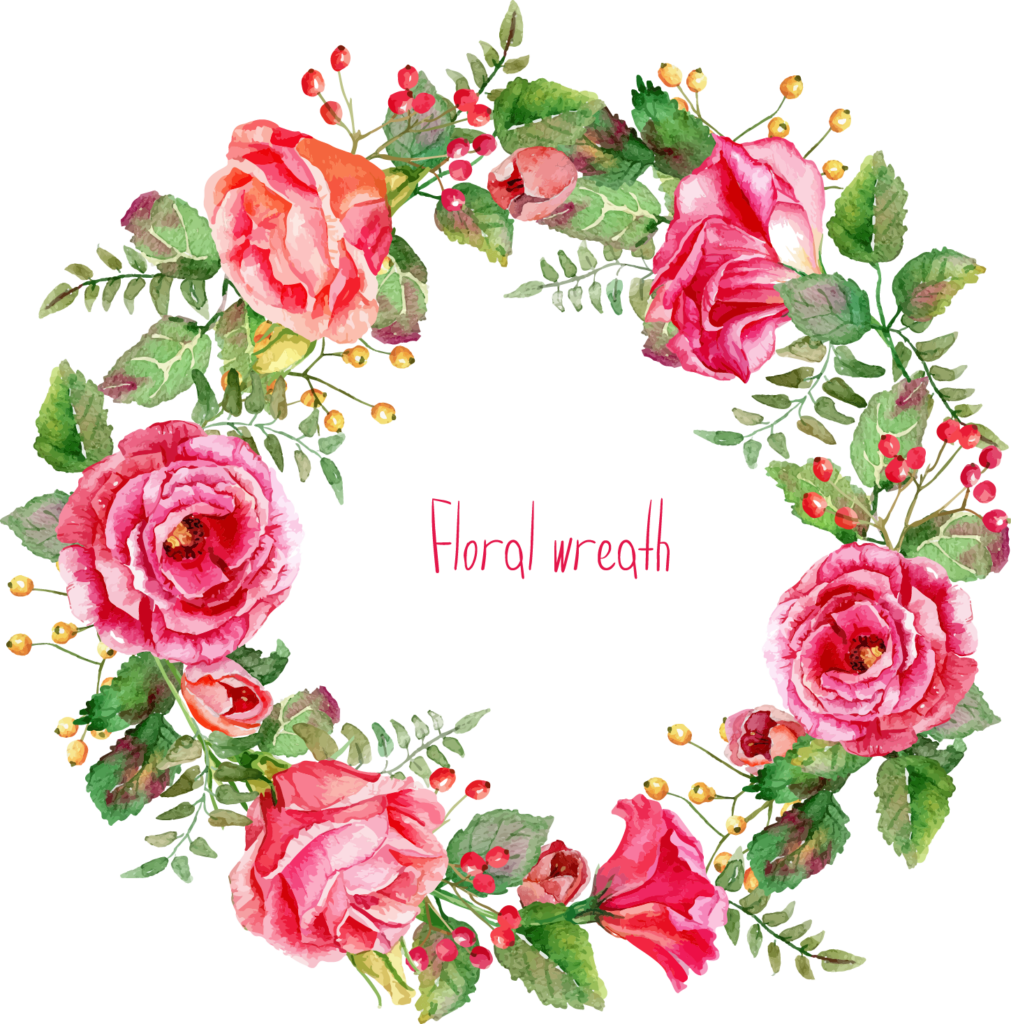 Free Watercolor Floral Wreath Png Cross Stitch Christmas - Free Watercolor Flower Wreath Transparent (986x999), Png Download