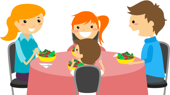 Download Cartoon Family Of 3 Eating Dinner For Kids Family Dinner Cartoon Png Png Image With No Background Pngkey Com