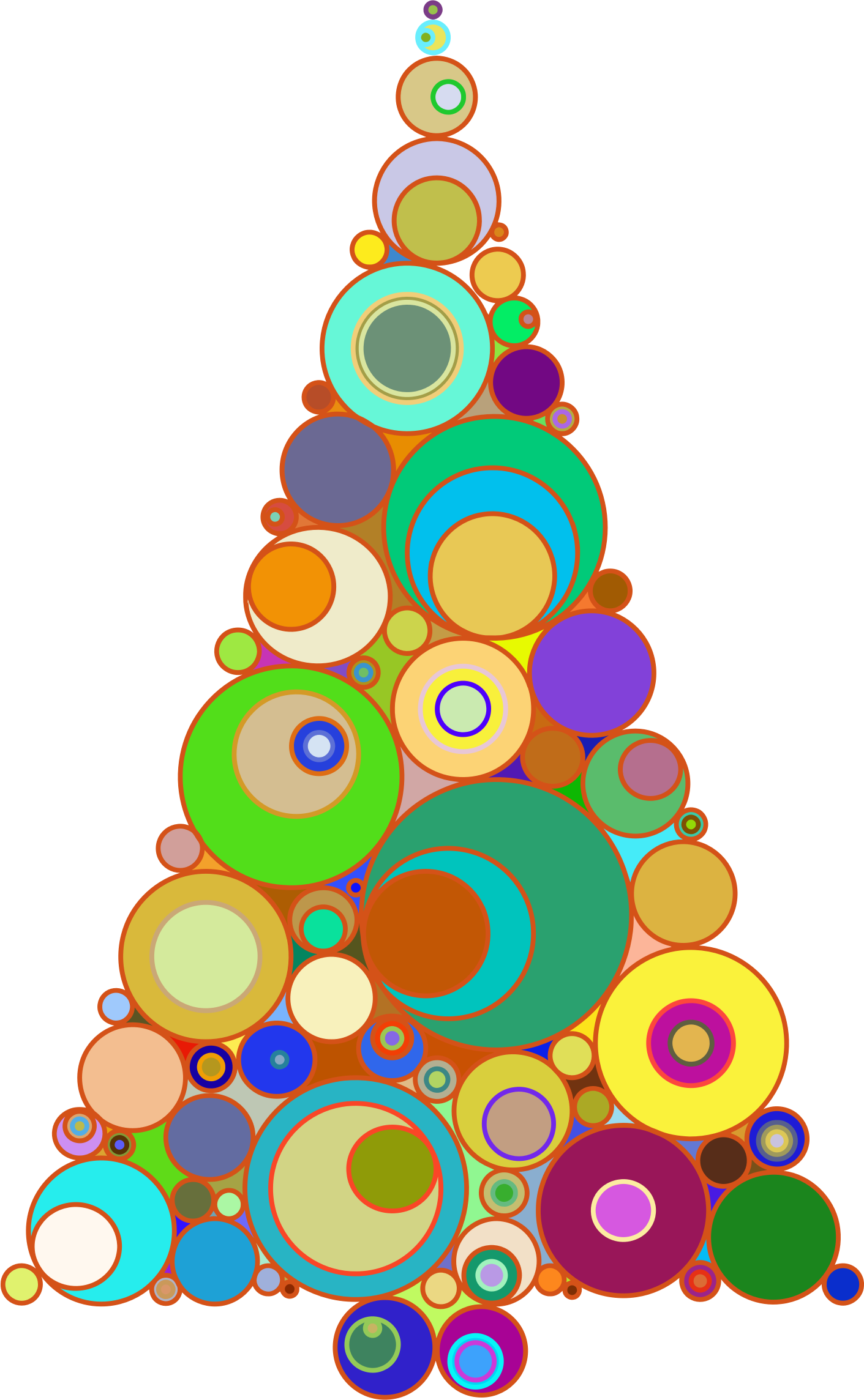 Colorful Abstract Circles Christmas Tree - Abstract Christmas Tree Clipart (1411x2288), Png Download