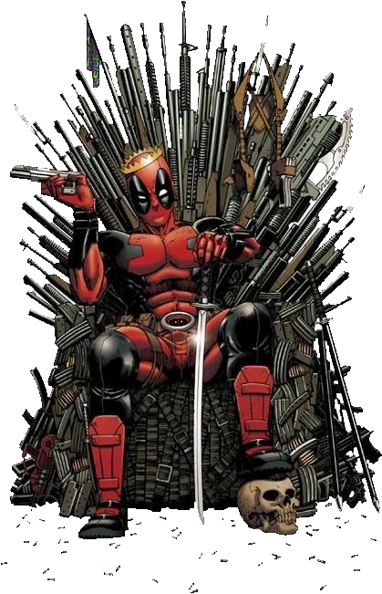 Deadpool Got - Deadpool On Iron Throne (486x750), Png Download