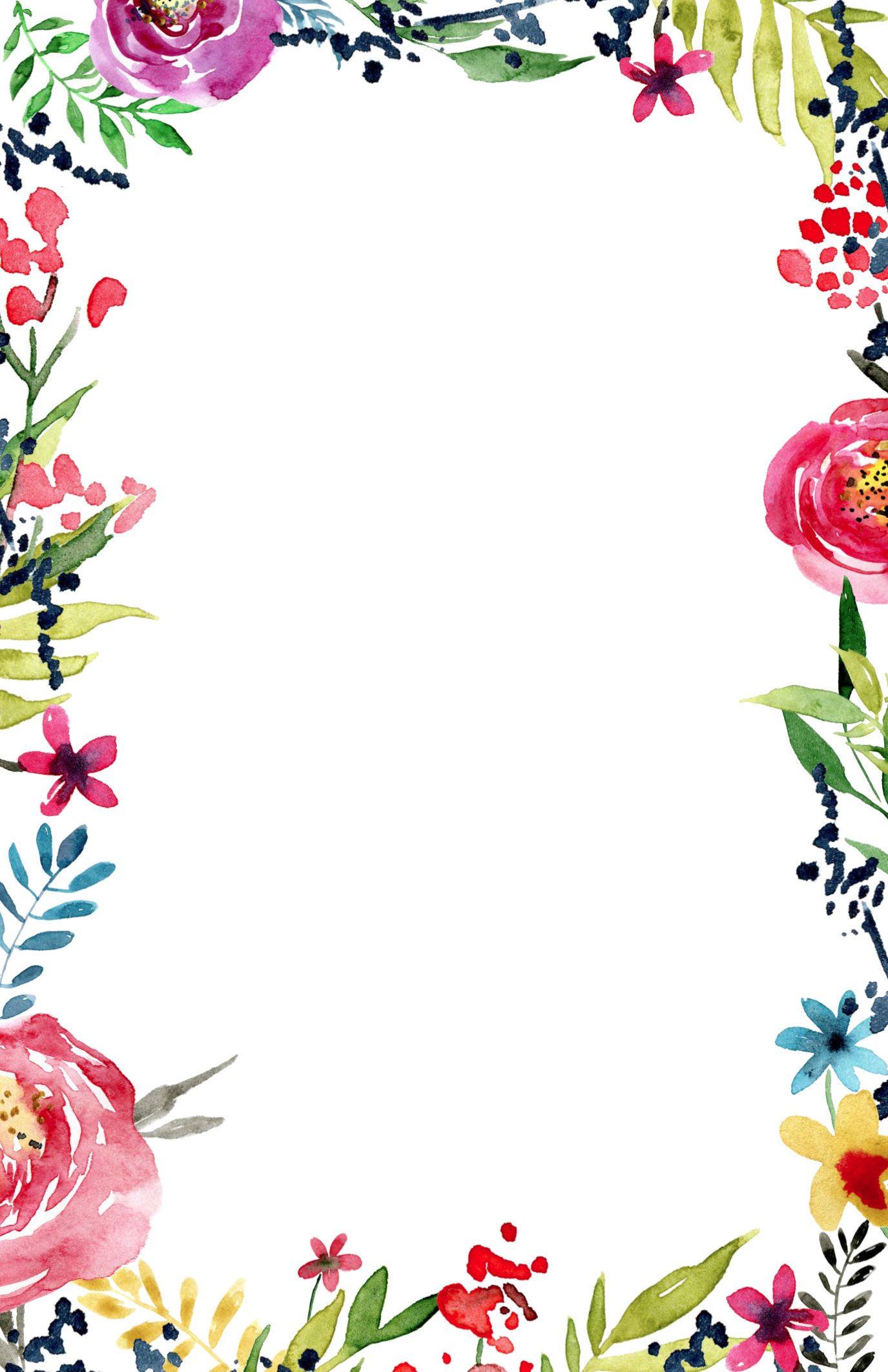 Border Design, Floral Watercolor Background, Watercolor - Border Line Design Flower (1375x2125), Png Download
