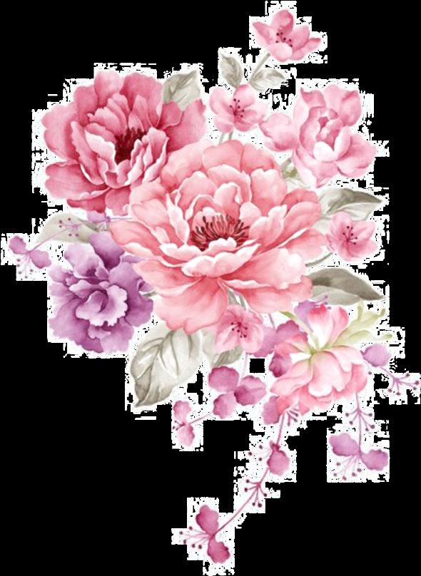 Ftestickers Watercolor Flowers Bouquet Pink - Watercolor ...