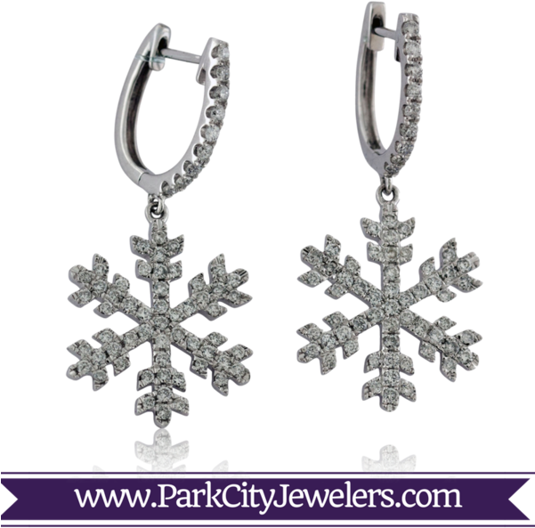 Pave Diamond Snowflake Dangle Earrings (600x600), Png Download