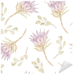 Watercolor Branches Protea And Eucalyptes Leaves Pattern - Watercolor Painting (400x400), Png Download