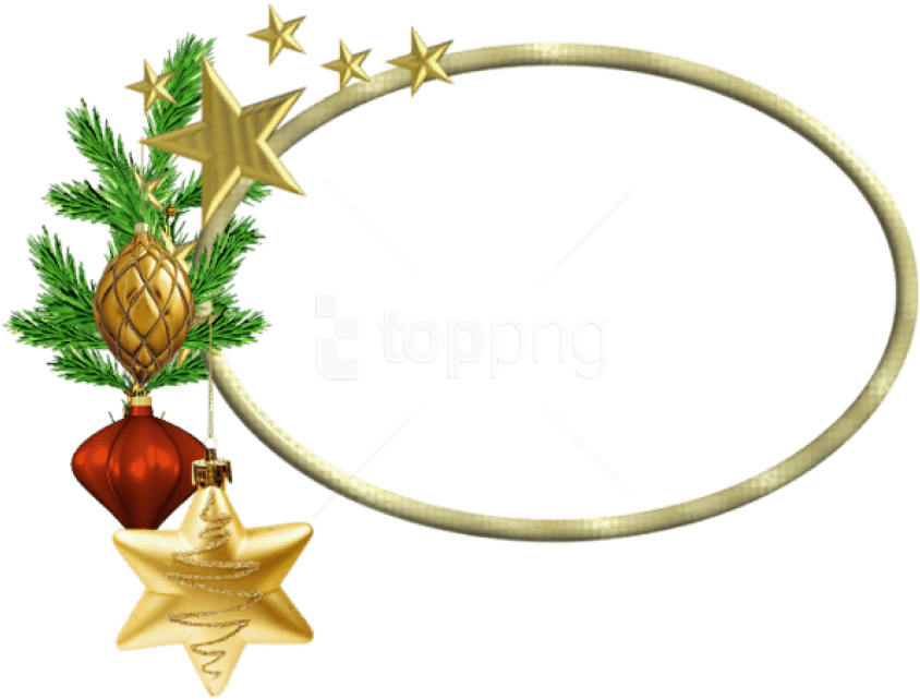 Free Png Oval Christmasframe With Stars Png Images - Christmas Oval Frame Png (850x649), Png Download