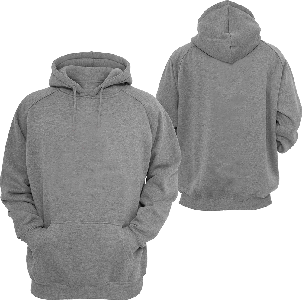 Hoodie - Grey Hoodie Front And Back - Free Transparent PNG ...