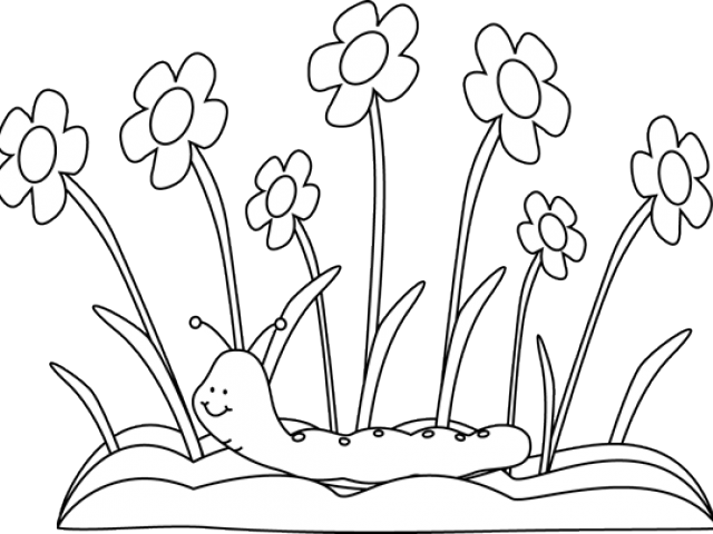 Spring Outline Cliparts - Flower Garden Clip Art Black And White (640x480), Png Download