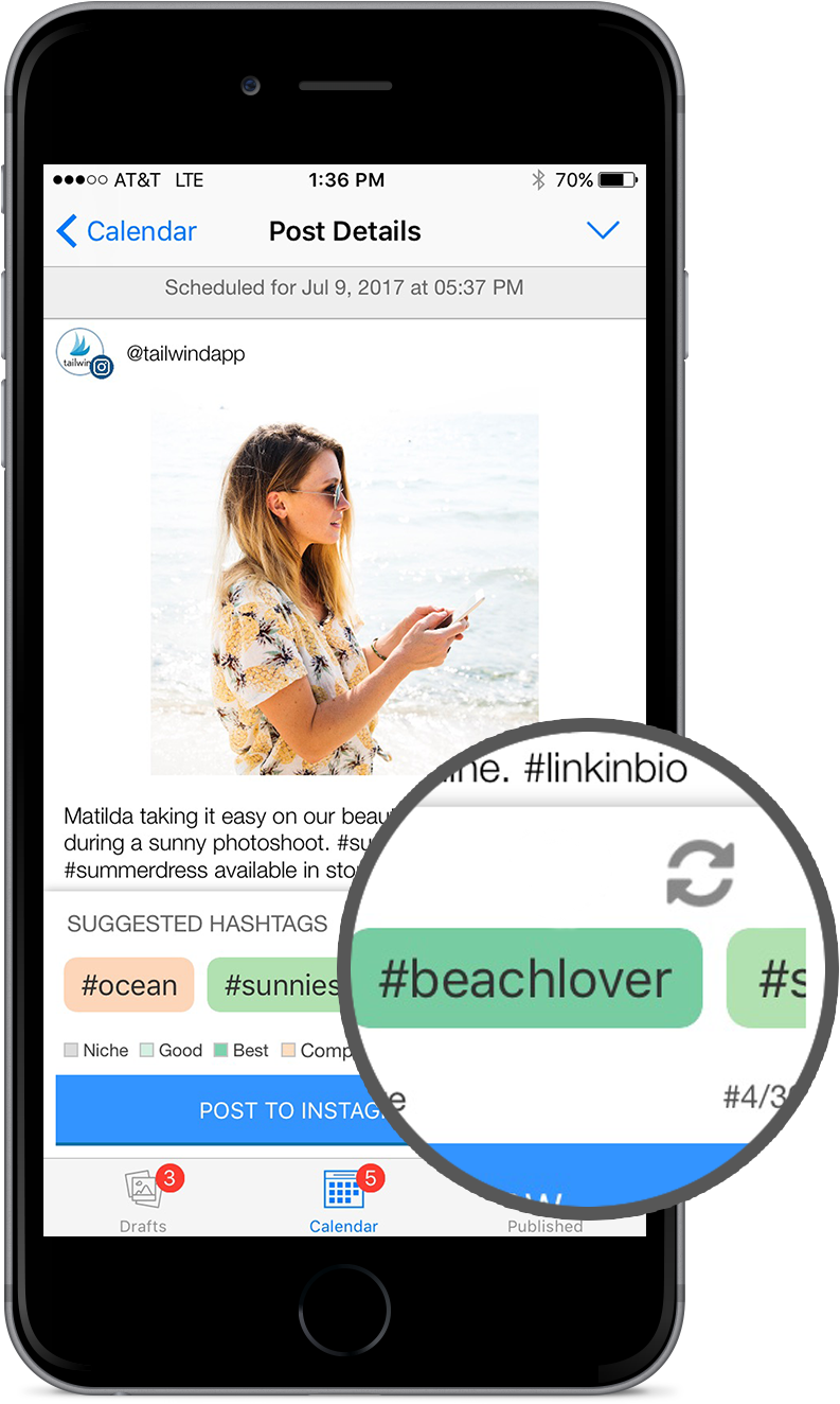 The Tailwind App Features Hashtag Finder And A Shuffle - Iphone Hashtag Images App (900x1478), Png Download