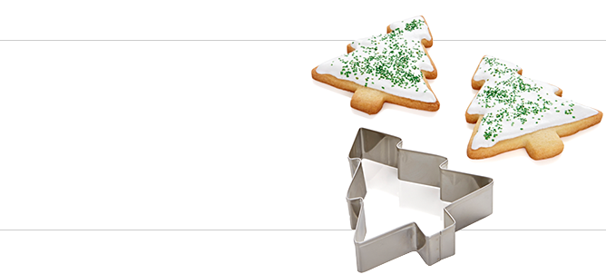 Cookie Sheet And Cutters - Christmas Cookie Cutter Png (668x302), Png Download