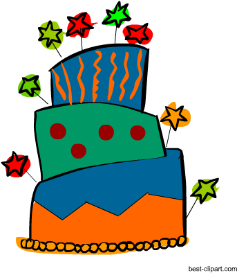 Funky Big Birthday Cake Clipart