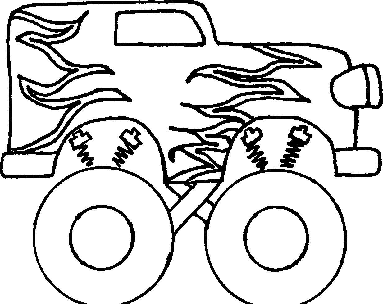 Monster Truck Clipart Black And White Free - Monster Truck Easy To Draw (1233x979), Png Download